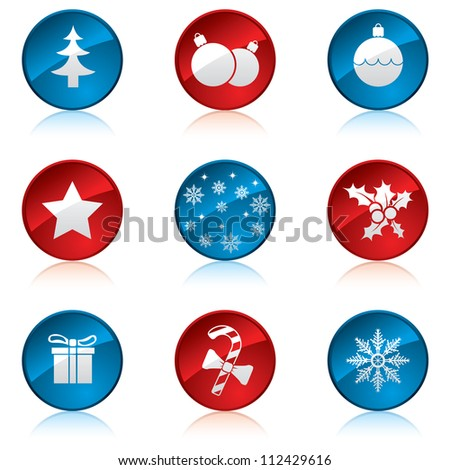 Christmas icon set - stock photo
