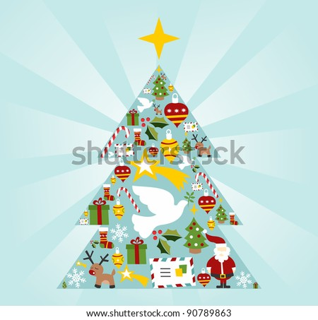 Christmas icon set in tree shape with a star on the top postcard background. Vector file available.