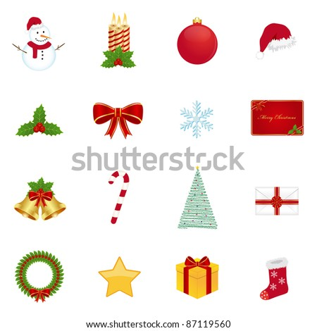 Christmas icons. Vector available.