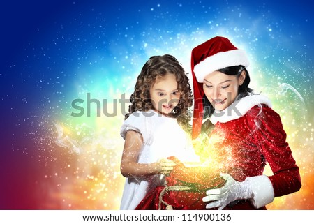 Christmas illlustration of little girl with christmas gifts and santa