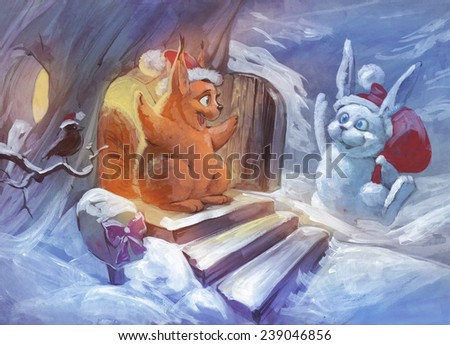 Christmas illustration of two friends, squirrel and bunny, meeting to celebrate Christmas together - stock photo