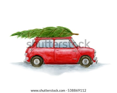 Christmas illustration. Watercolor red car with Christmas tree