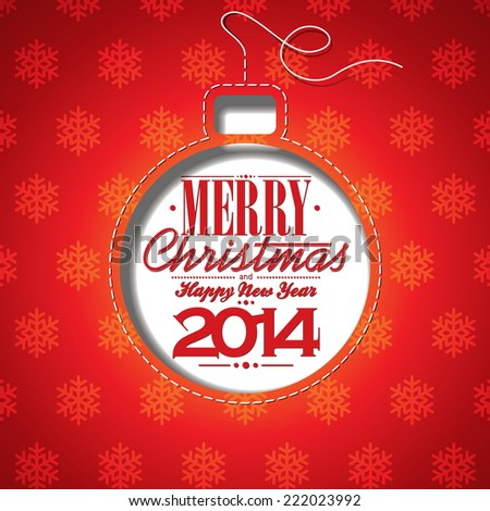 Christmas illustration with abstract ball and typographic design on snowflakes background. . JPG version - stock photo