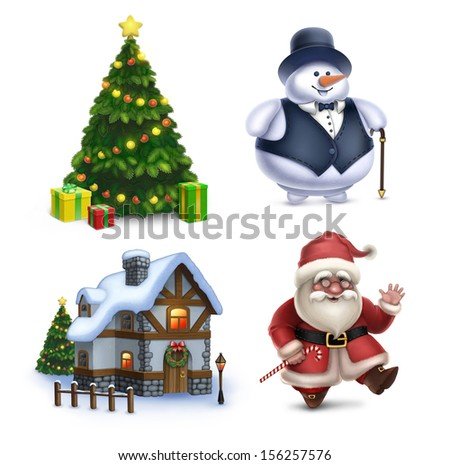 Christmas illustrations collection. Santa Claus, Snowman, Christmas tree and sweet home - stock photo