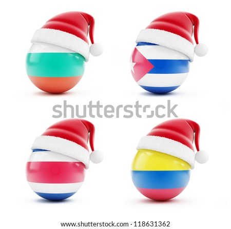 Christmas in Bulgaria, Colombia, Costa Rica, Cuba on a white background