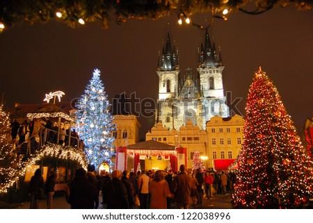 Christmas in Oldtown square (czech: Staromestske namesti) Prague, Czech Republic - stock photo