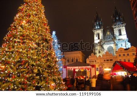 Christmas in Prague, Czech Republic - stock photo