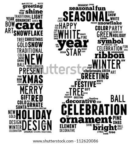 Christmas info-text graphics arrangement concept composed in number 12 shape on white background
