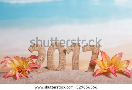 Christmas inscription 2017 in the sand decorated with tropical flowers on a background of the sea