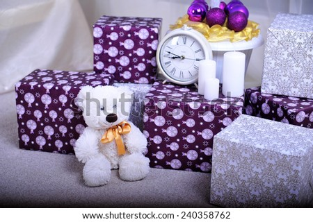 Christmas interior.Christmas presents near the Xmas tree in children's bedroom - stock photo