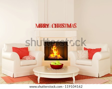 Christmas interior in red and white color with fireplace in the center of the composition, comfortable chairs and a nice little round table in the center - stock photo