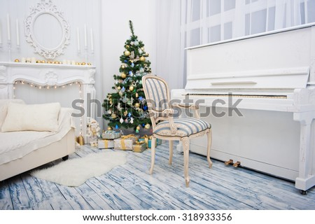 Christmas interior room with sofa, fir tree and piano