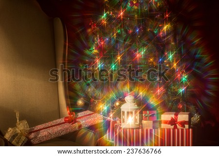 Christmas interior with Christmas tree and. spectacular attachments.