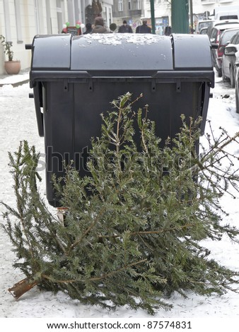 Christmas is over. Christmas trees are put down at a street after Xmas - stock photo