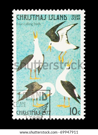 CHRISTMAS ISLAND - CIRCA 1977: part of a set of 12 mail stamp printed on Christmas Island depicting the Twelve Days of Christmas, circa 1977