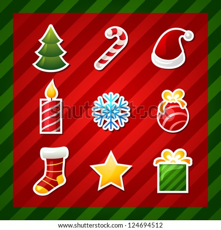 christmas items icons. new year element . bitmap version