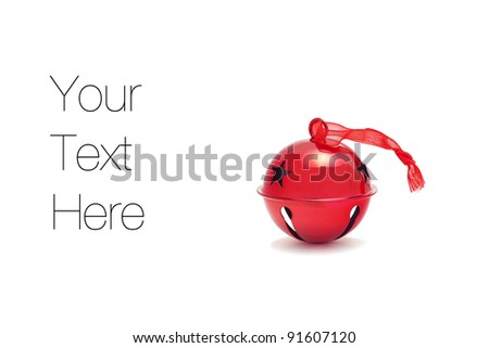Christmas Jingle bell, isolated on white, copy space - stock photo