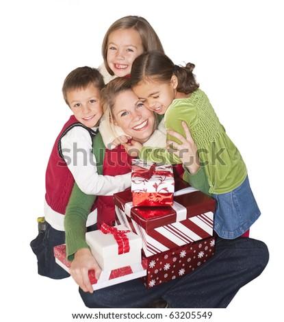 Christmas Joy with Mom and Family - stock photo