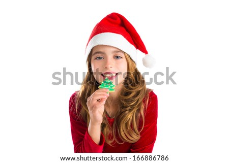 Christmas kid girl Xmas tree cookie isolated on white background - stock photo
