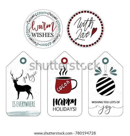christmas labels stickers gift tags decoration stock illustration