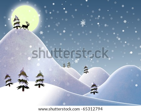 christmas landscape and reindeer on a moon
