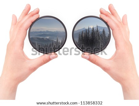 christmas landscape throw camera filter isolated on a white background - stock photo