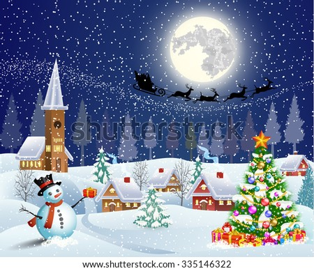 Christmas landscape with christmas tree and snowman with gifbox. background with moon and the silhouette of Santa Claus flying on a sleigh. concept for greeting or postal card, Raster version.  - stock photo