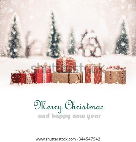 Christmas landscape with gifts and snow. Christmas background - stock photo