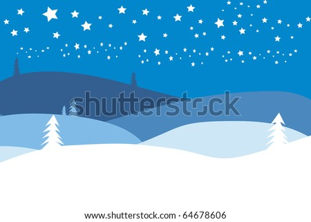 christmas landscape with stars - stock photo