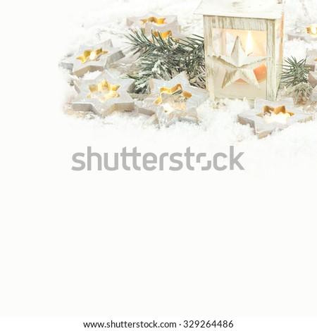 Christmas lantern with light stars - stock photo