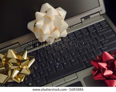 Christmas Laptop Seven - stock photo