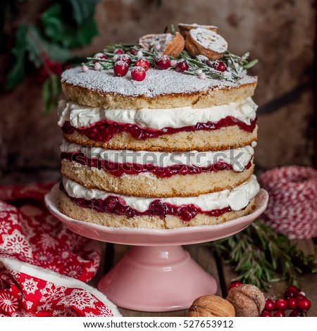 Christmas Layered Cake with Raspberry Jam and Whipped Cream, Victoria Sponge, square