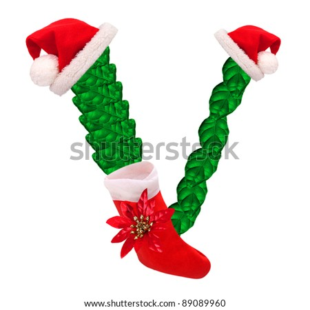 Christmas letter with Santa Claus cap and stocking. One part of great christmas alphabet.