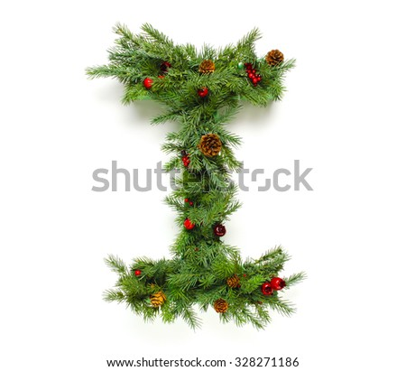 Christmas letters alphabet or font made of pine branches - stock photo