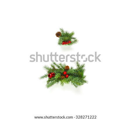 Christmas letters alphabet or font made of pine branches -  Period and Dash - stock photo