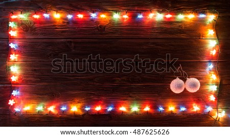 christmas light and decorations on wood texture merry happy background wooden