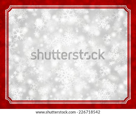 Christmas light and snowflakes vector background. Card or invitation decoration. Raster version. - stock photo