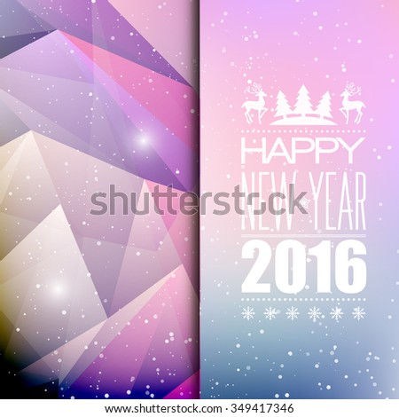 Christmas light background.  Typographic poster. Happy New Year 2016. Raster copy - stock photo