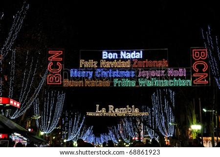 Christmas lights at streets of Barcelona, Spain. - stock photo