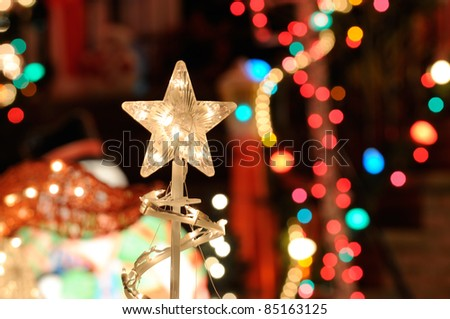 Christmas lights background nativity star blurred stock photo christmas lights background nativity star blurred lights and outdoor decorations aloadofball Image collections