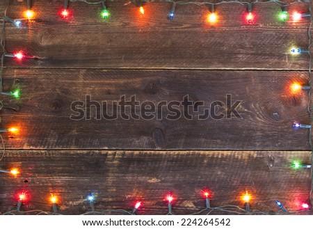 christmas lights frame background - stock photo
