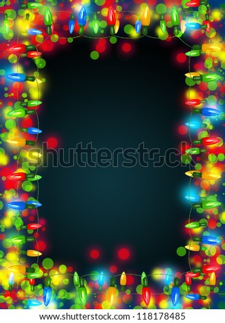 Christmas lights frame on dark background.Decorative garland