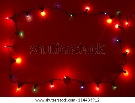 Christmas lights frame with copy space - stock photo