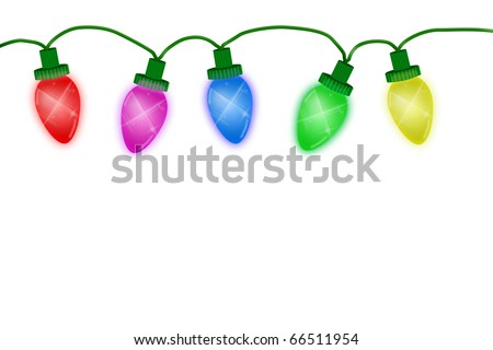 Christmas lights illustrated on a white background, christmas lights background