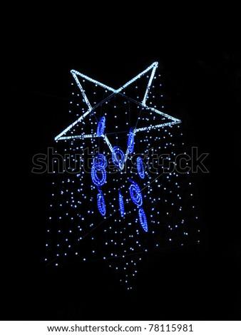 Christmas lights in Barcelona city street - stock photo