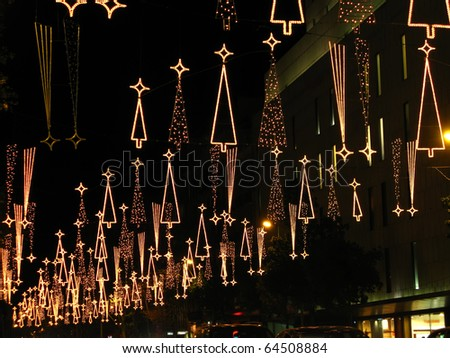 Christmas lights in Barcelona street - stock photo