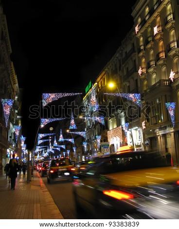 Christmas lights in Barcelona street - stock photo