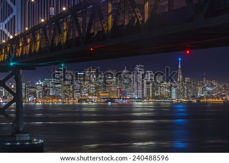 Christmas lights in San Francisco - stock photo