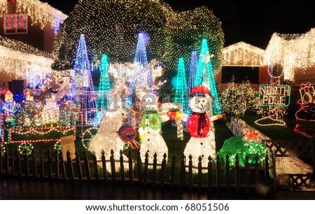 Christmas Lights on a House - stock photo
