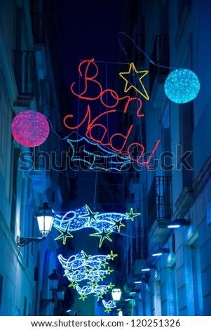 Christmas lights on Barcelona streets - stock photo